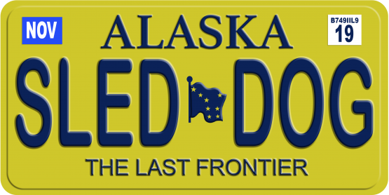 Alaskan Sled Dog License Plate