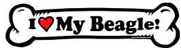 I love my Beagle Dog Bone Sticker Free Shipping