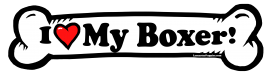 I love my Boxer Dog Bone Sticker Free Shipping