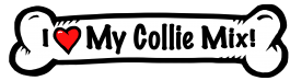 I love my Collie Mix Dog Bone Sticker