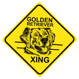 Golden Retriever Crossing Sign Free Shipping